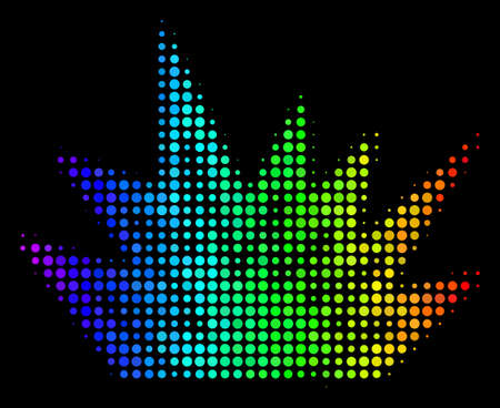 Dot bright halftone explosion boom icon using rainbow color variations with horizontal gradient on a black background. Colored vector composition of explosion boom symbol done with round pixels.
