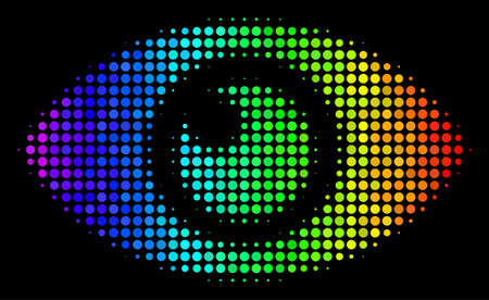Pixelated colorful halftone eye icon in spectrum color shades with horizontal gradient on a black background. Colorful vector concept of eye pictogram made from circle particles.