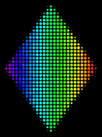 Dot bright halftone filled rhombus icon in spectral color tints with horizontal gradient on a black background. Colored vector mosaic of filled rhombus symbol done from spheric pixels.