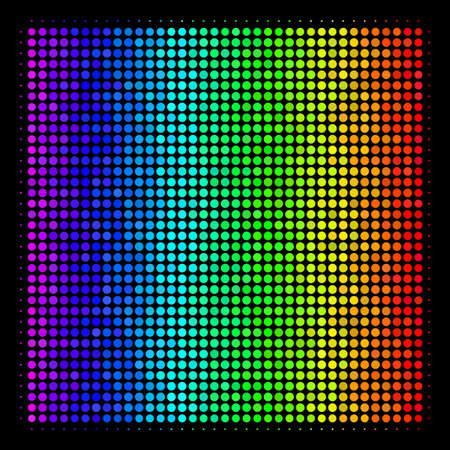 Dot impressive halftone filled square icon drawn with rainbow color tones with horizontal gradient on a black background. Bright vector mosaic of filled square pictogram organized with circle pixels.
