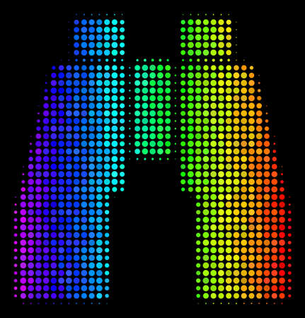 Pixelated colorful halftone find binoculars icon drawn with spectral color tinges with horizontal gradient on a black background. Illustration