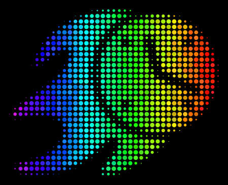 Dotted colorful halftone fire deadline clock icon using spectrum color tints with horizontal gradient on a black background.
