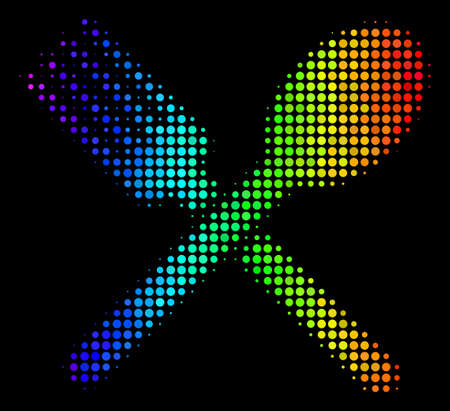 Pixel colorful halftone fork and spoon icon using spectrum color tinges with horizontal gradient on a black background. Bright vector collage of fork and spoon pictogram combined with round particles.