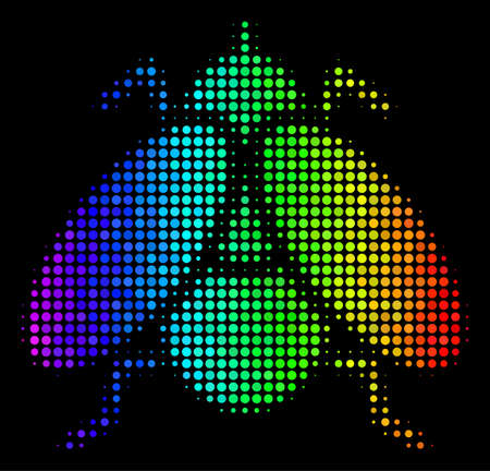 Dot bright halftone fly insect icon using spectral color tinges with horizontal gradient on a black background. Colorful vector mosaic of fly insect illustration constructed from circle items. Ilustrace