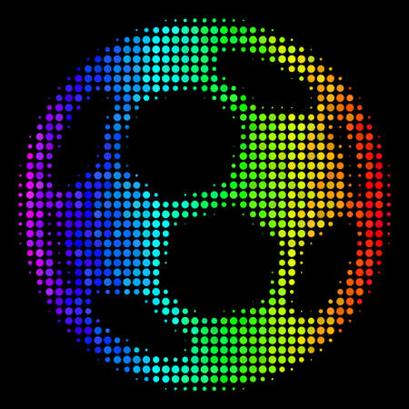 Dot colorful halftone football ball icon in spectral color tints with horizontal gradient on a black background. Multicolored vector concept of football ball pictogram created from round pixels. Illustration