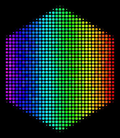 Pixelated impressive halftone filled hexagon icon in spectral color variations with horizontal gradient on a black background.