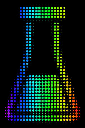 Dot colorful halftone flask icon drawn with spectrum color tints with horizontal gradient on a black background. Color vector pattern of flask pictogram organized with circle elements. Ilustrace