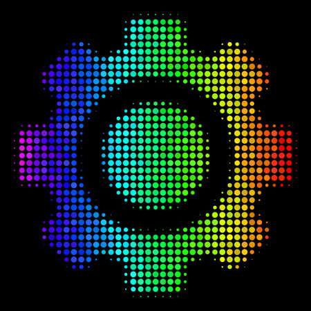 Bright halftone gear rainbow icon. Illustration