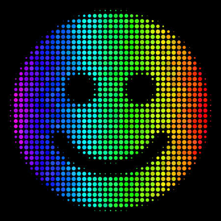 Pixel colorful halftone glad smile icon in spectral color shades with horizontal gradient on a black background. Multicolored vector composition of glad smile symbol combined from round items. Ilustrace