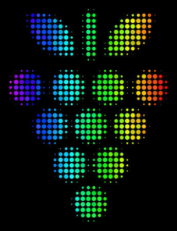 Dot bright halftone grapes icon using rainbow color tints with horizontal gradient on a black background. Colorful vector concept of grapes symbol organized of round pixels.