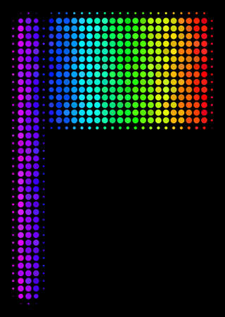 Dotted impressive halftone flag icon using rainbow color shades with horizontal gradient on a black background. Color vector composition of flag illustration combined with round points. Illustration
