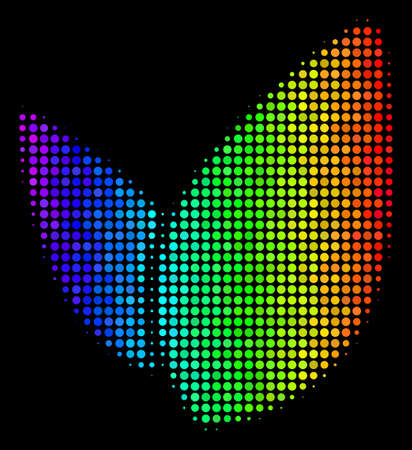Pixelated colorful halftone floral sprout icon in spectral color variations with horizontal gradient on a black background. Color vector collage of floral sprout illustration made from spheric points.