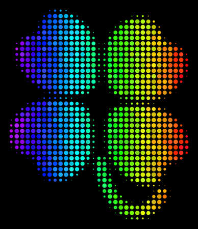 Dotted impressive halftone four-leafed clover icon in rainbow color variations with horizontal gradient on a black background.