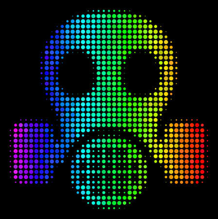 Dot colorful halftone gas mask icon using rainbow color variations with horizontal gradient on a black background. Colorful vector composition of gas mask symbol organized of round particles.