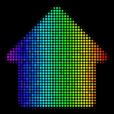 Dot colorful halftone house icon drawn with spectrum color tinges with horizontal gradient on a black background. Color vector mosaic of house symbol formed from round items. Illustration