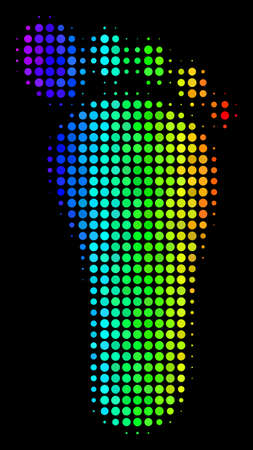 Pixel colorful halftone human footprint icon drawn with spectrum color hues with horizontal gradient on a black background.