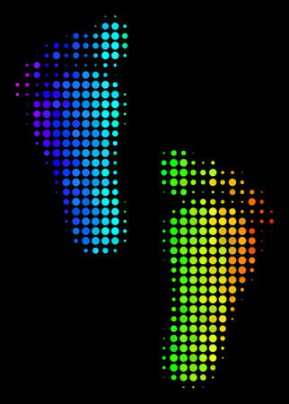 Dot bright halftone human steps icon in rainbow color tones with horizontal gradient on a black background.