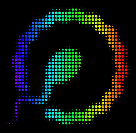 Dotted bright halftone insemination icon drawn with spectral color hues with horizontal gradient on a black background. Color vector collage of insemination illustration designed of circle dots.