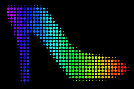 Dotted impressive halftone lady shoe icon drawn with spectrum color tones with horizontal gradient on a black background.