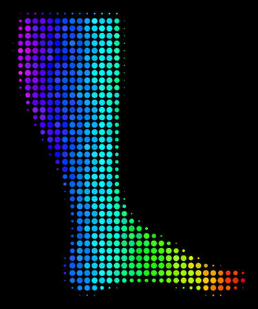 Dot bright halftone leg icon in rainbow color tints with horizontal gradient on a black background.
