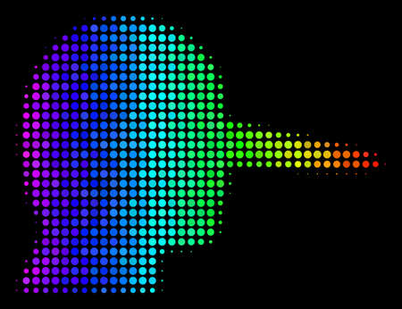 Pixel bright halftone lier icon using spectrum color tinges with horizontal gradient on a black background.