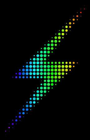 Icono de rayo de semitono brillante punteado dibujado con tintes de color arco iris con degradado horizontal sobre un fondo negro. Concepto de vector colorido del símbolo del rayo construido con píxeles redondos. Ilustración de vector