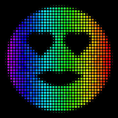 Dotted impressive halftone lady love smiley icon using spectrum color hues with horizontal gradient on a black background.