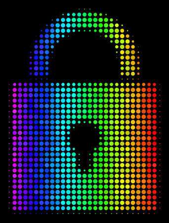 Pixel bright halftone lock icon drawn with spectral color variations with horizontal gradient on a black background. Illustration