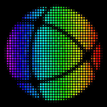 Dot impressive halftone internet icon in rainbow color tints with horizontal gradient on a black background. Ilustrace