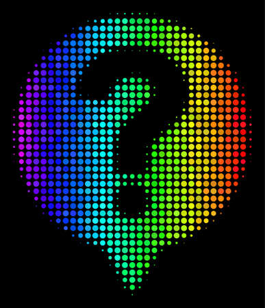 Pixelated impressive halftone help balloon icon drawn with spectral color shades with horizontal gradient on a black background.