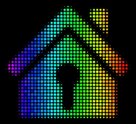 Pixelated bright halftone home keyhole icon using rainbow color tinges with horizontal gradient on a black background. Colorful vector composition of home keyhole pictogram composed from circle items. Illustration