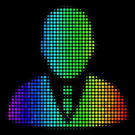Dot bright halftone manager icon in spectrum color tints with horizontal gradient on a black background. Colorful vector concept of manager symbol composed with circle points.