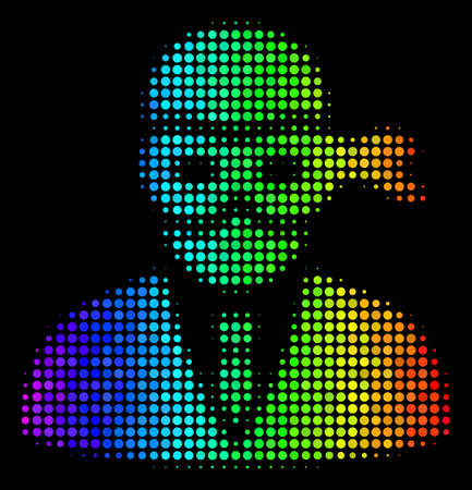 Pixelated bright halftone masked thief icon using spectrum color variations with horizontal gradient on a black background. Illustration