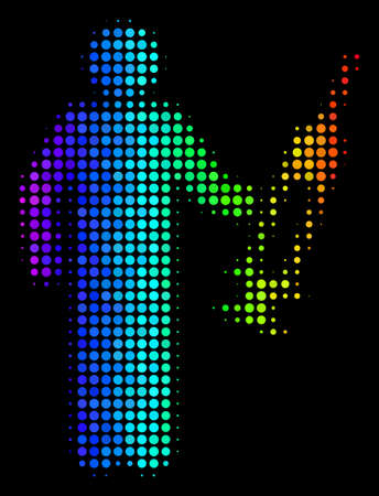 Dot bright halftone medic icon drawn with spectrum color shades with horizontal gradient on a black background. Multicolored vector concept of medic pictogram made from circle elements.