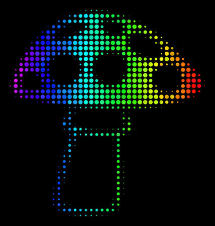 Pixelated impressive halftone mushroom icon in spectral color tinges with horizontal gradient on a black background. Colored vector collage of mushroom symbol designed from circle elements.