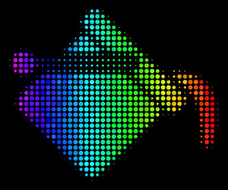 Pixel colorful halftone paint bucket icon drawn with spectral color tints with horizontal gradient on a black background.