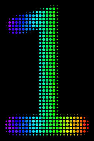 Pixelated bright halftone one digit icon drawn with spectrum color variations with horizontal gradient on a black background. Illustration