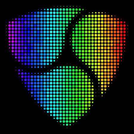 Dotted bright halftone NEM icon using spectral color variations with horizontal gradient on a black background. Multicolored vector concept of NEM pictogram formed from circle cells.