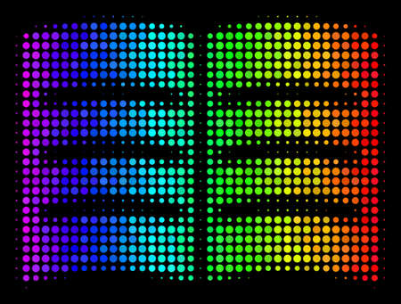 Pixelated bright halftone open book icon drawn with spectrum color variations with horizontal gradient on a black background. Colored vector mosaic of open book illustration done with circle pixels.