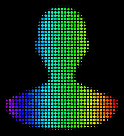 Dot bright halftone person icon in rainbow color tinges with horizontal gradient on a black background. Colorful vector collage of person symbol organized with round items. Ilustração