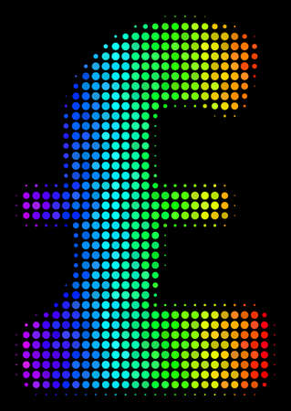 Colorful dotted Pound Sterling icon