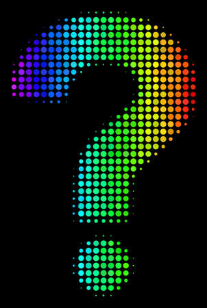Pixelated bright halftone question icon using rainbow color tints with horizontal gradient on a black background. Bright vector pattern of question illustration done of circle items. Illustration
