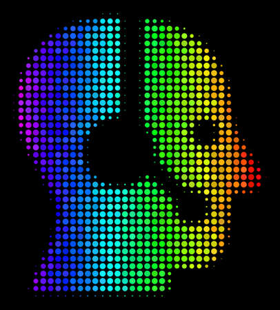 Pixelated impressive halftone operator icon drawn with rainbow color shades with horizontal gradient on a black background. Colorful vector pattern of operator symbol created from spheric items.