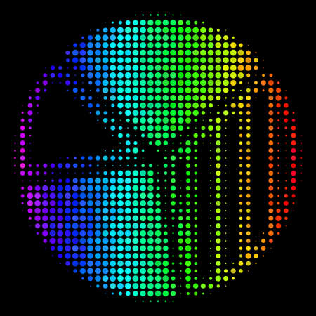 Pixel colorful halftone pie chart icon using rainbow color tints with horizontal gradient on a black background. Colorful vector pattern of pie chart symbol combined from circle cells.