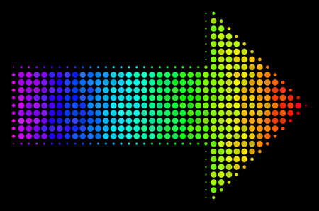 Dot colorful halftone right arrow icon in spectral color tones with horizontal gradient on a black background. Colored vector mosaic of right arrow pictogram done with circle cells.