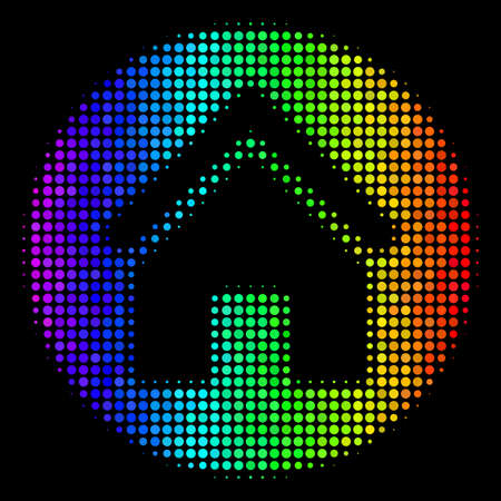Pixel colorful halftone real estate icon in spectral color tints with horizontal gradient on a black background. Colorful vector mosaic of real estate pictogram composed from circle points.