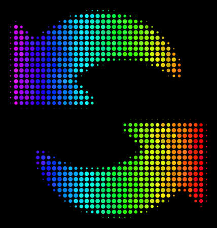 Pixel bright halftone refresh icon drawn with spectral color tones with horizontal gradient on a black background. Colored vector composition of refresh pictogram made from spheric items.