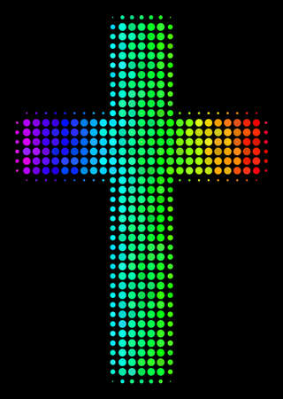 Pixelated impressive halftone religious cross icon in spectral color tinges with horizontal gradient on a black background. Bright vector mosaic of religious cross symbol designed from spheric points.