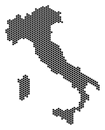 Hexagon Italy map. Vector territory scheme on a white background. Abstract Italy map mosaic is formed with hex-tile pixels.