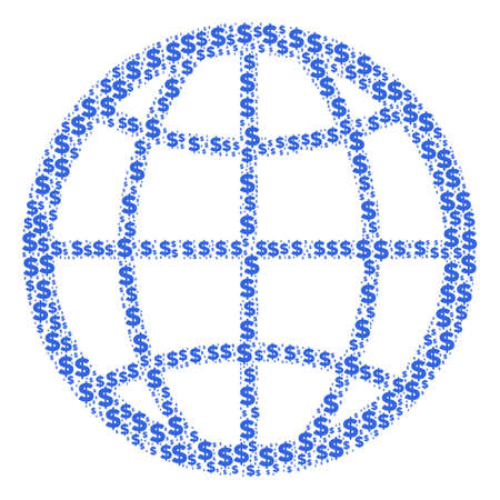 Globe composition of dollars and spherical points. Money vector icons are grouped into globe composition.